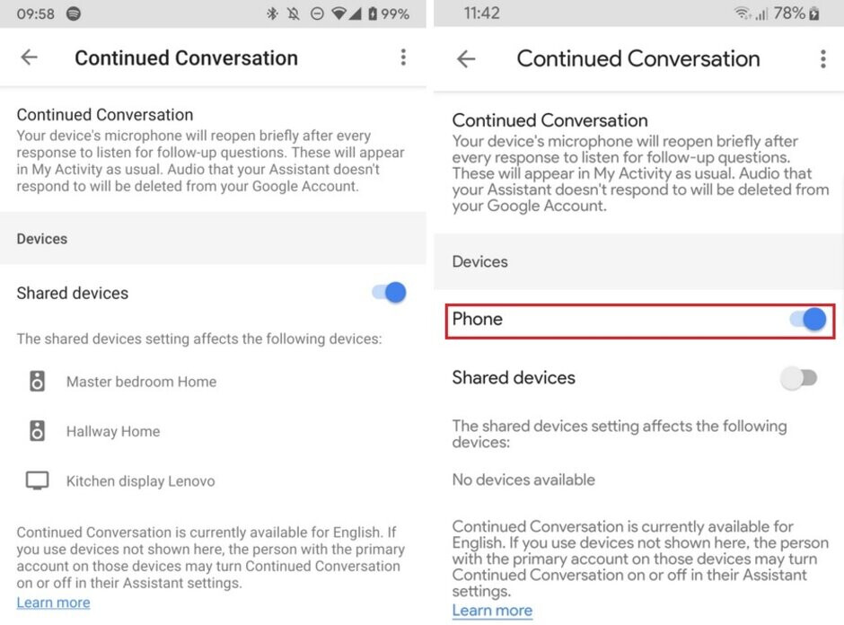 At left, you'll find the old menu and at right, the updated one - Google Assistant's Continued Conversation is coming to Pixel handsets