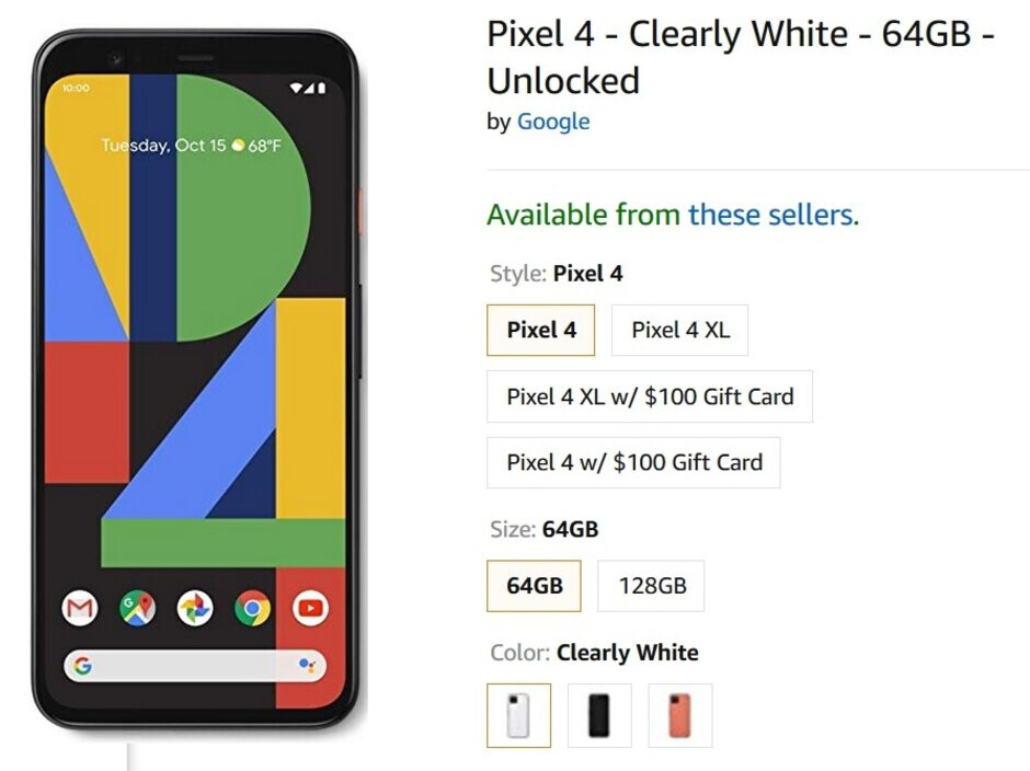 For a few hours, Amazon today had the 64GB Pixel 4 in Clearly White priced at $100 off - Amazon had one 64GB Pixel 4 model on sale today for a very limited time