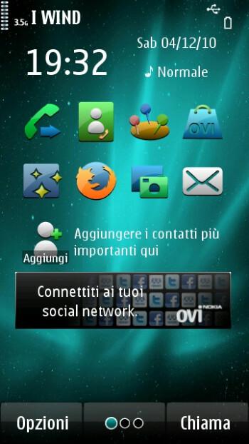 Screenshots of the H2O custom firmware on Nokia N8