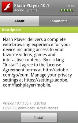 Flash Player 10.1.105.7 - Bugfixes in tow with Flash Player 10.1.105.7 in the Android Market