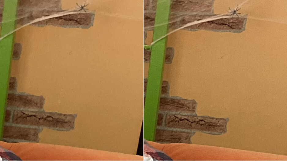 Regular photo on the left, Deep Fusion on the right (crop) - Deep Fusion demo: before and after