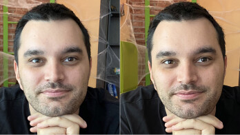 Regular photo on the left, Deep Fusion on the right (150% crop) - Deep Fusion demo: before and after