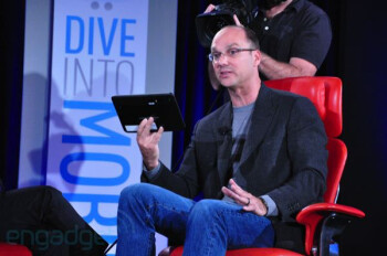 Google VP Andy Rubin displays the Dual-Core powered, Honeycomb flavored Motorola Android Tablets