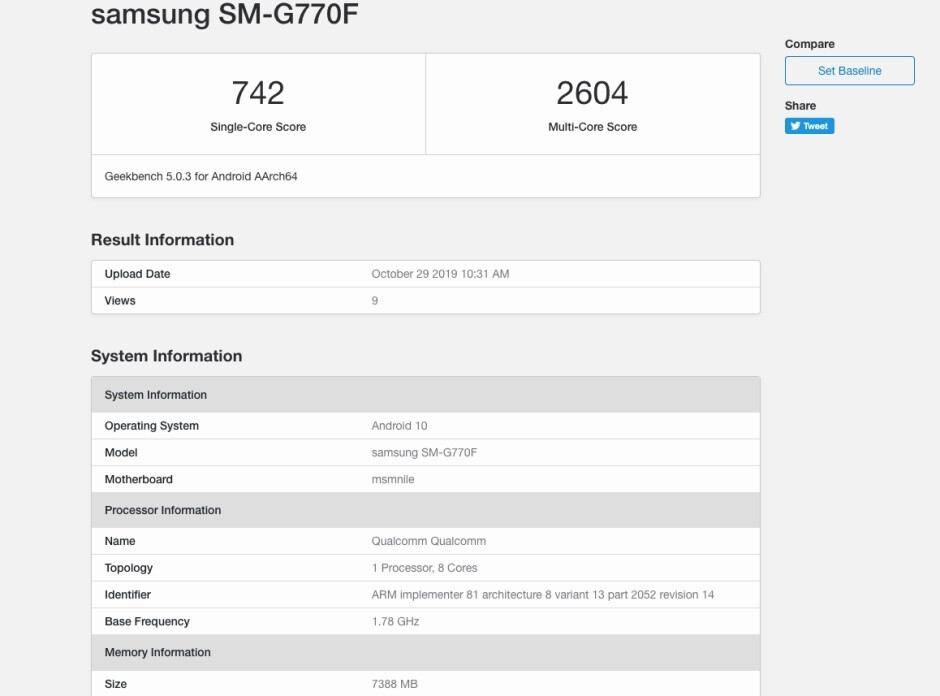 Samsung Galaxy S10 Lite benchmark lends credence to state-of-the-art specs