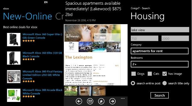 Craigs7 Pro is a comprehensive Craigslist app for Windows Phone 7