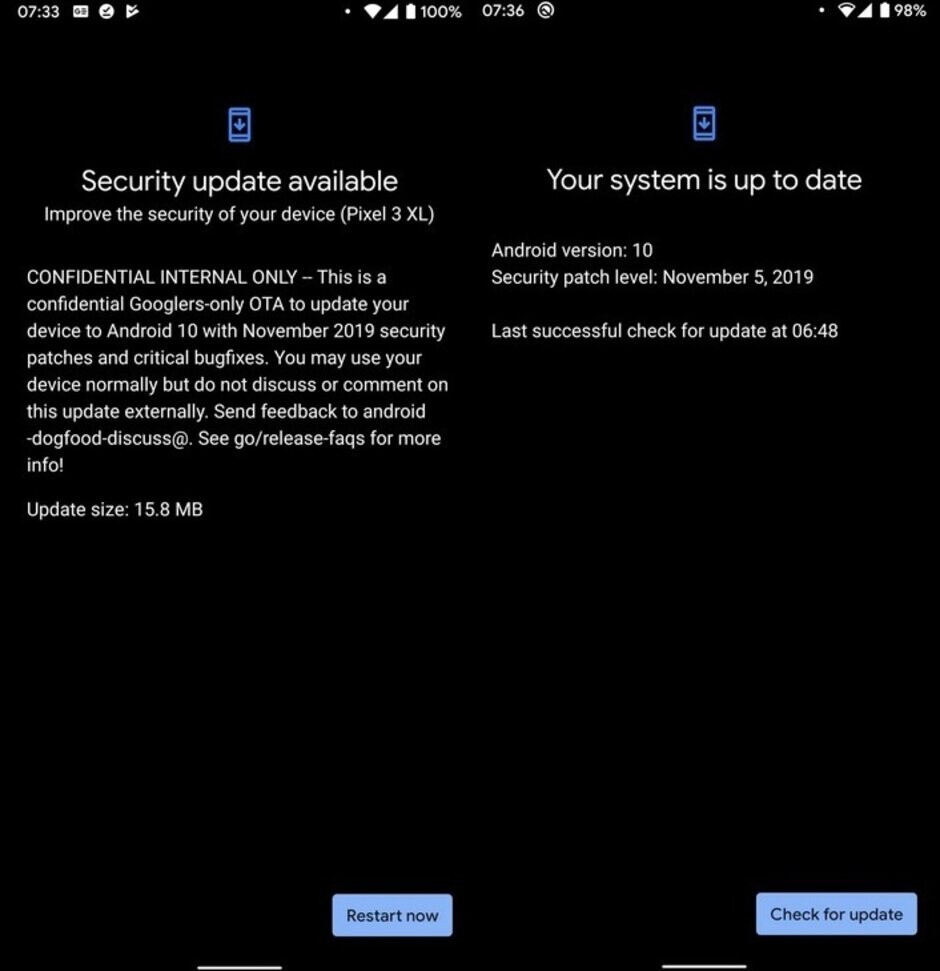 Some Pixel 3 users have received a confidential version of Tuesday's Android security update a few days early by accident - Some Pixel 3 owners receive a confidential version of the November Android update by mistake