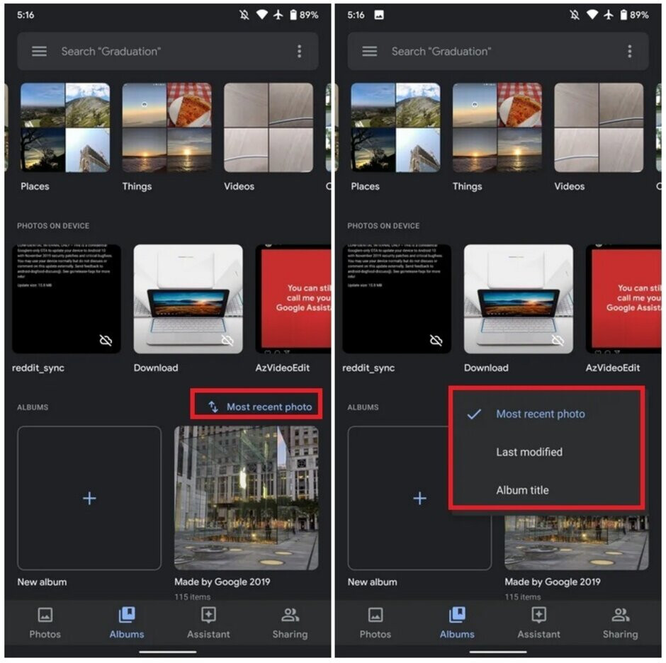 Update allows Google Photos users to sort Albums based on new options - Google works to improve Photos app album storage; Pixel 4 users can now export video stills