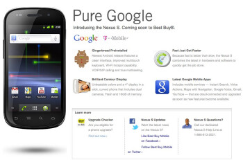 Information about the Google Nexus S is once again up on Best Buys site.