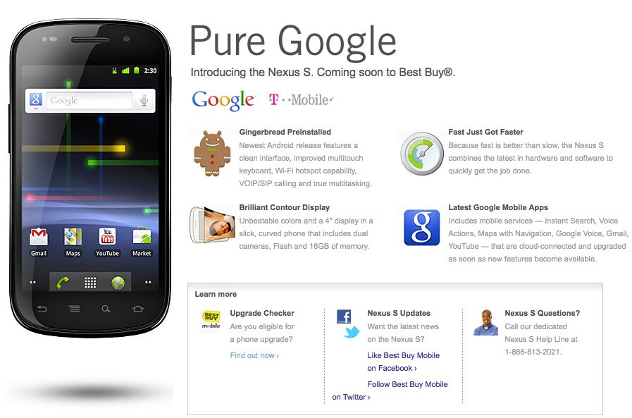 Information about the Google Nexus S is once again up on Best Buys site. - Information regarding the Google Nexus S is now for real on Best Buy's web site