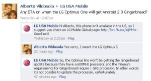 The incorrect information from the LG Facebook site that kicked off the worrying