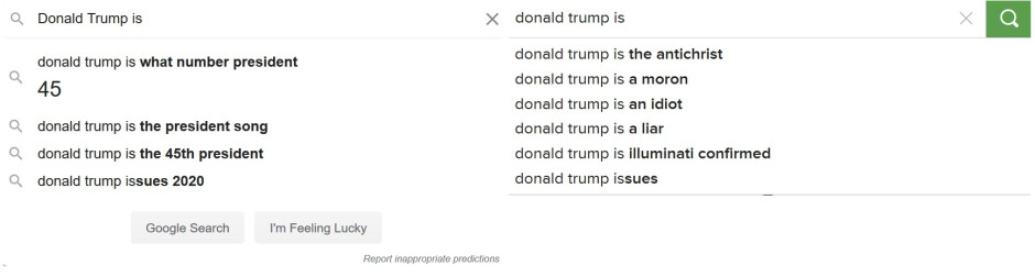 At left, auto-complete results from Google. At right, auto-complete results from DuckDuckGo - Report shows some of the ways that Google manipulates search results