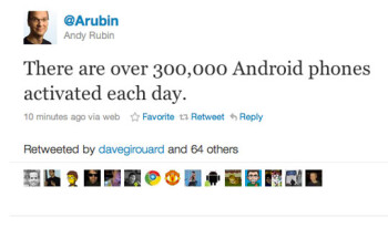 According to Andy Rubin, daily Android activations remain strong at 300,000 turned on per day