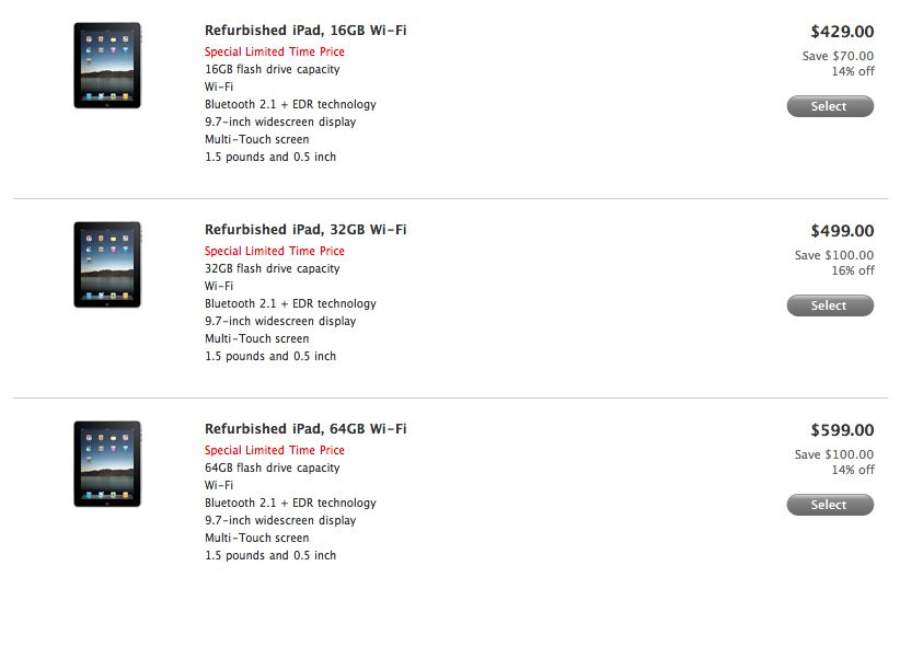 Apple offers refurbished iPads from $430