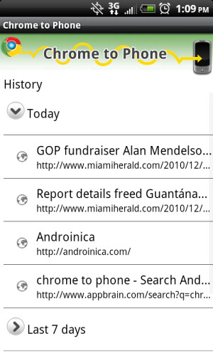 The newly updated Google Chrome to Phone now gives you a history of your links - Updated Google Chrome to Phone app  now gives you your links history