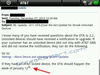 Froyo update for AT&T's version of the Dell Streak is shelved until next year
