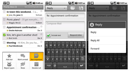 The upgraded Gmail app for Android 2.2 or higher brings better priority alerts and the ability to change the destination of your letter as you compose it - Gmail app for Android is updated with much improved features for priority emails