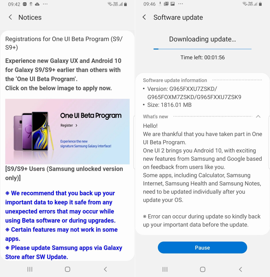 Samsung Galaxy S9/S9+ Android 10 beta commences across a few regions