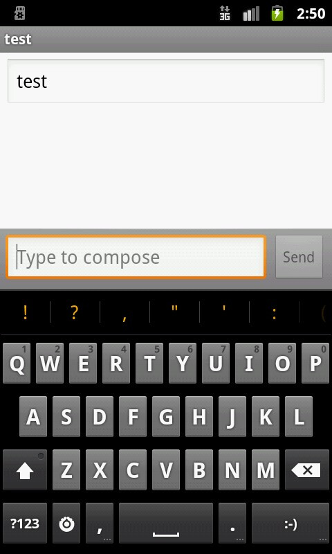 Froyo (on the left), and Gingerbread punctuation symbols and cursor select - Android 2.3 Gingerbread new features