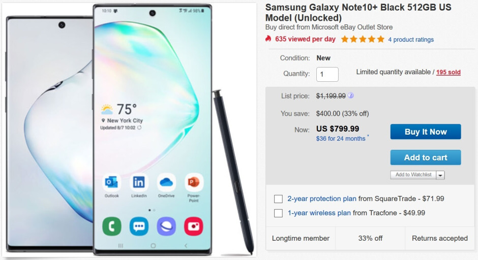 Buy the unlocked Samsung Galaxy Note 10+ on sale from Microsoft - Microsoft has a great deal on the unlocked U.S. Samsung Galaxy Note 10+