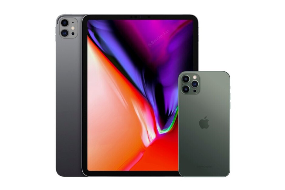 2020 iPad Pro with iPhone 12 Pro concept render by Ben Geskin - iPad Pro with revolutionary display tech, faster chipset could debut in Q3 2020