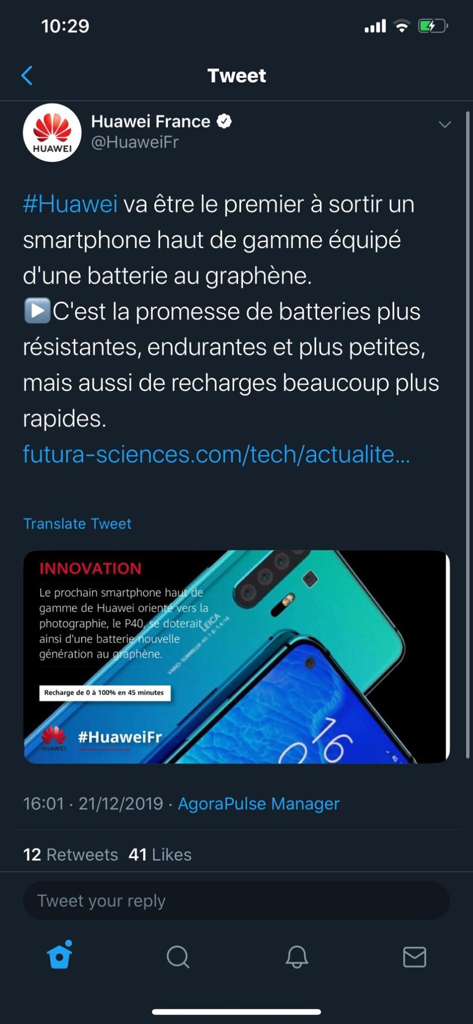 Update: Huawei P40 Pro graphene battery might be fake news