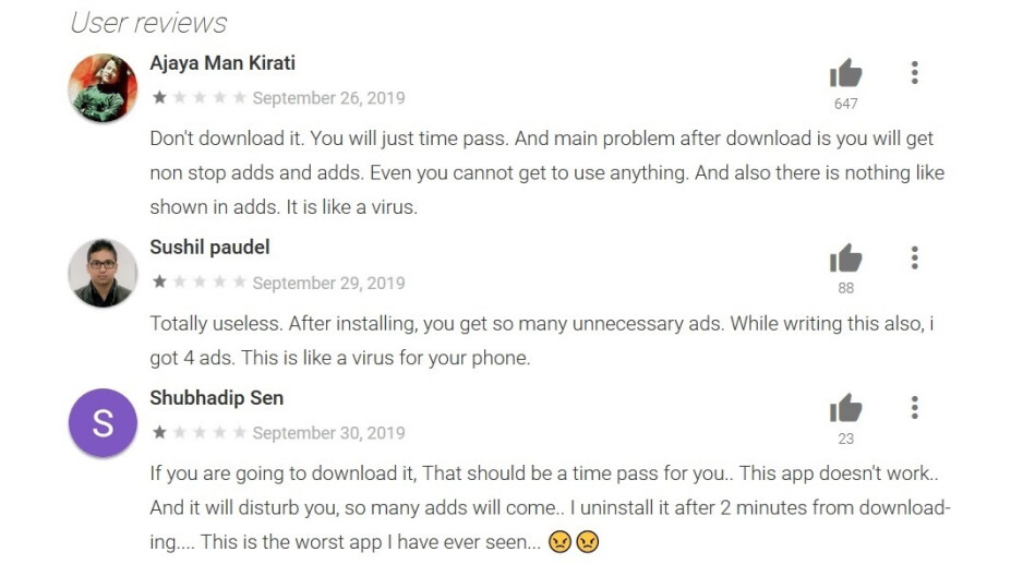 If you see a Comments section like the one found on the Play Store listing for Best Fortune Explorer, run away from the app as fast as you can - Android users should not install these 104 apps from the Google Play Store
