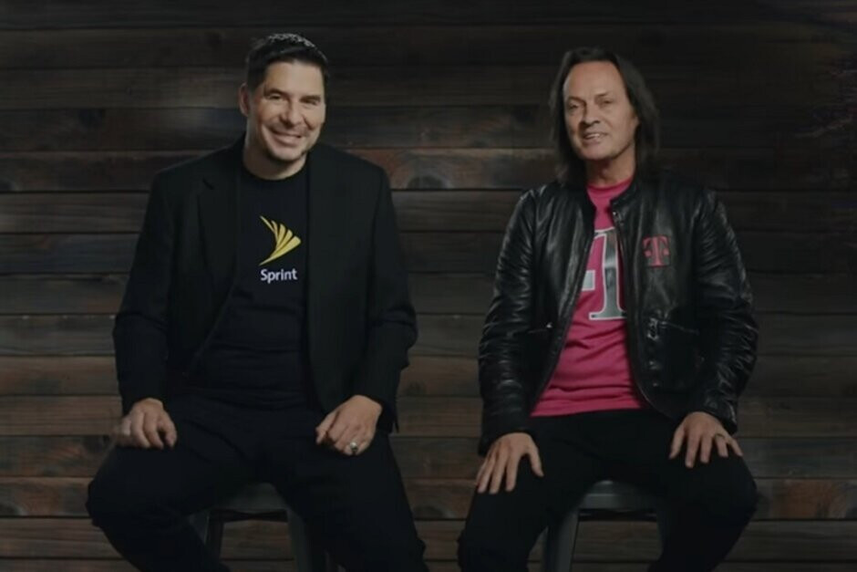 Former Sprint executive Marcel Claure (L) and T-Mobile CEO John Legere announce the merger in April 2018 - Judge could decide fate of T-Mobile-Sprint merger in weeks