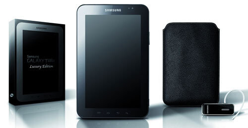 The Luxury edition comes packaged with a Bluetooth headset and leather case. - Luxury edition of the Samsung Galaxy Tab comes with a leather case & Bluetooth headset