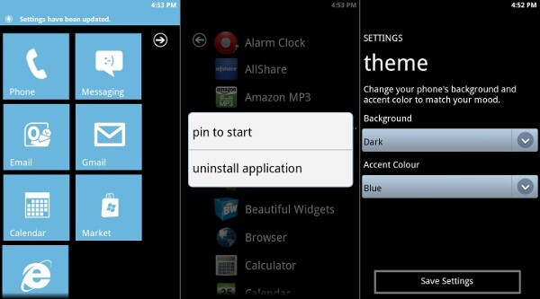 Windows Phone 7 interface ported to Android as a launcher