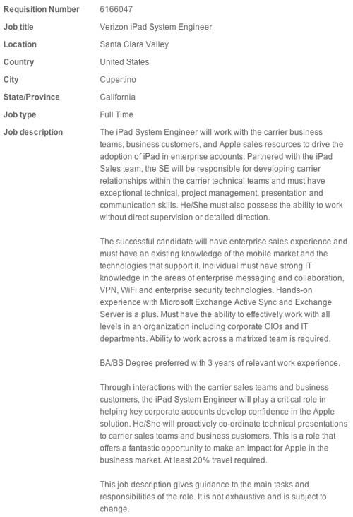 Apple looking for Verizon iPad engineers