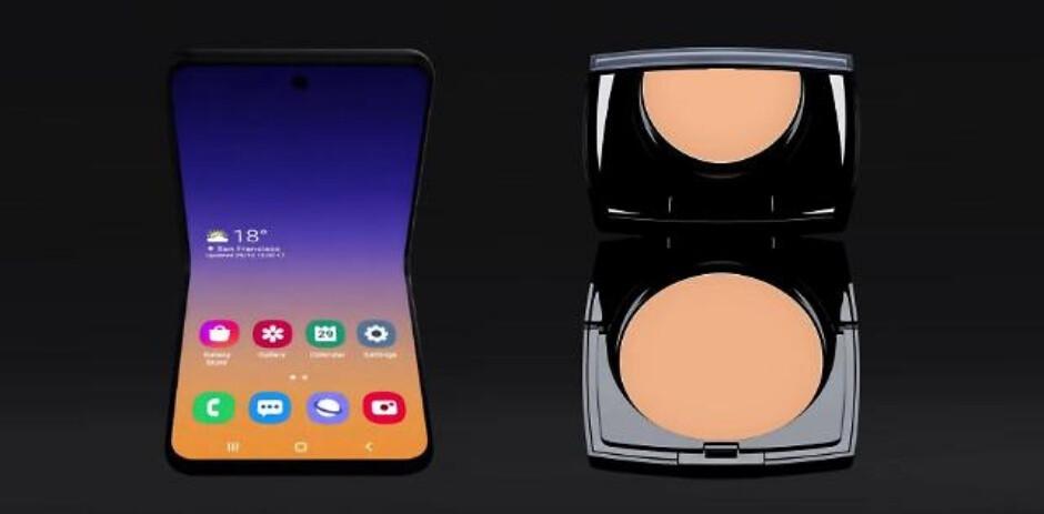 Galaxy Bloom (left),Lancôme compact powder foundation (right) - Samsung secretly 'confirms' foldable Galaxy Bloom and Galaxy S20 names