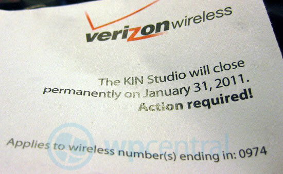 Verizon to shutter The KIN Studio next month, offers users a free 3G phone