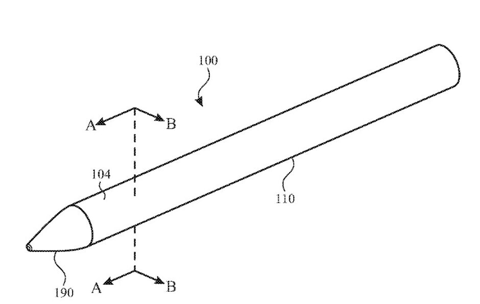 Illustration of the Apple Pencil from Apple's new patent application - Patent for Apple Pencil includes an embedded camera, biometric sensor, mic, and gesture controls