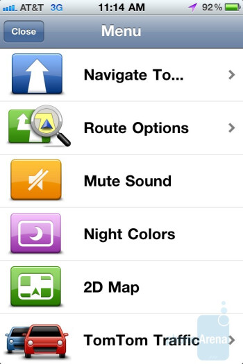 The main menu and keyboard of the TomTom app