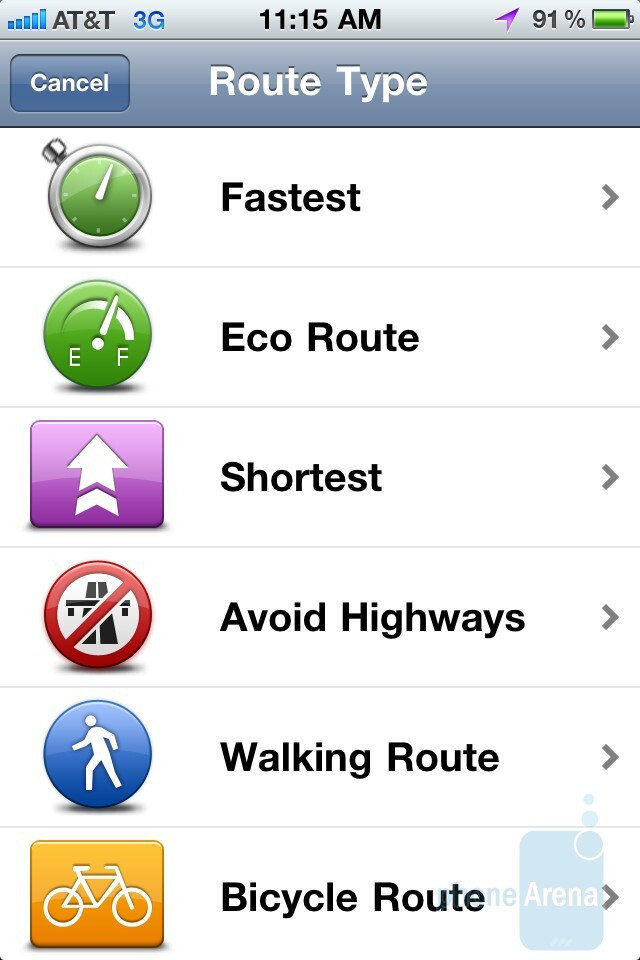 The main menu and keyboard of the TomTom app - TomTom vs Magellan Roadmate for the iPhone