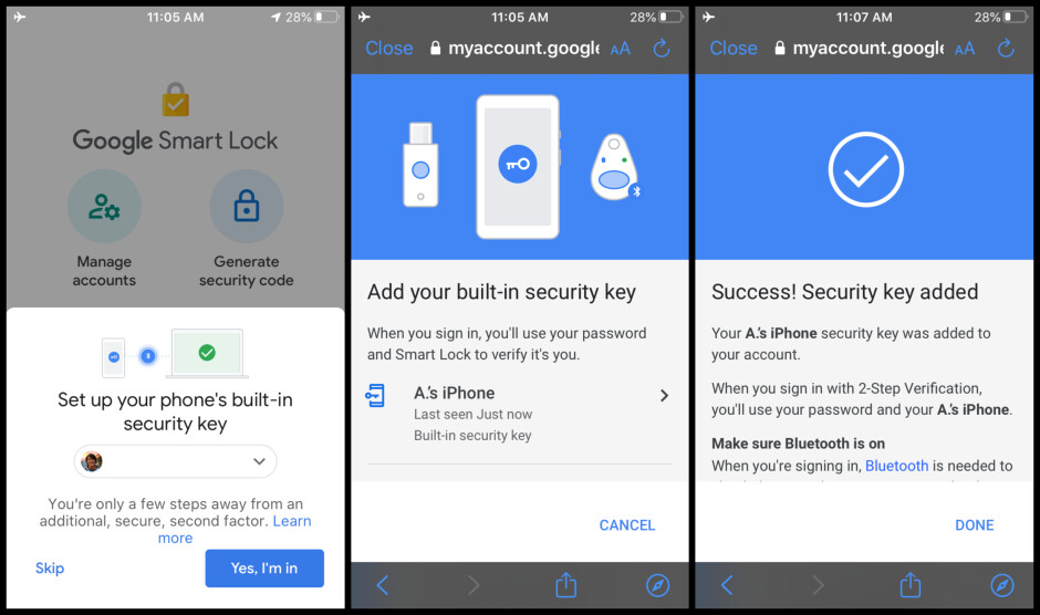 Photos courtesy of 9to5Google - Google introduces iPhone support for an important security feature