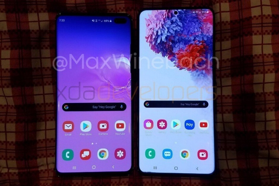 Galaxy S10+ (left), Galaxy S20+ (right) - Hands-on video and new pic reveal the full Galaxy S20+ story
