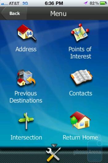 The main menu and keyboard of the Magellan Roadmate app