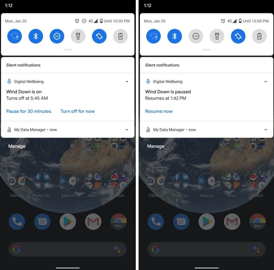 Wind Down can now be paused (at left) and it will resume automatically after 30 minutes - Google adds pause button to Digital Wellbeing's Wind Down feature