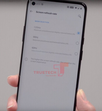 The OnePlus 8 Pro will give users three refresh rate options to choose from - OnePlus 8 Pro live photo shows the refresh rate choices that users will have