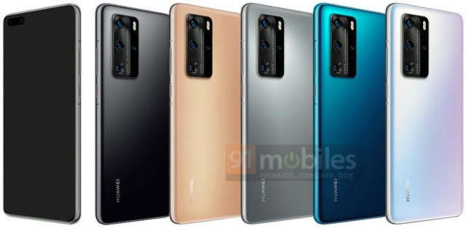 Huawei P40 Pro in Black, Blush Gold, Silver Frost, Deep Sea Blue, and Ice White - Take a look at the Huawei P40 Pro in mint green