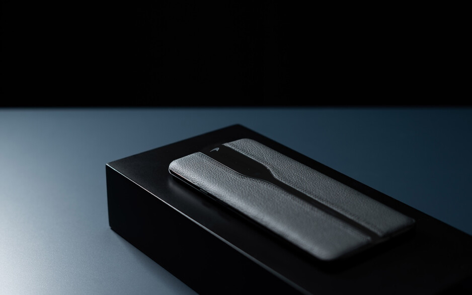 Black leather prototype of the OnePlus Concept One - OnePlus' invisible camera phone concept looks marvelous in black leather