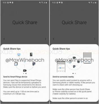 Screenshots from the Quick Share app - With Samsung's answer to AirDrop, you can even send files to your fridge