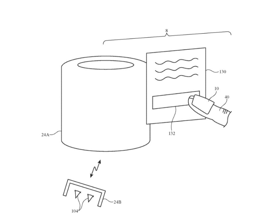Illustration from patent application shows how the finger-worn device can be used to lower the volume on the HomePod using virtual controls - This could be how you'll move virtual objects on Apple Glasses