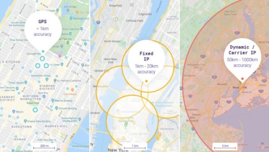 The difference in the accuracy of location data obtained by GPS and by IP addresses - New feature has dropped the collection of iOS users' location data by 68%