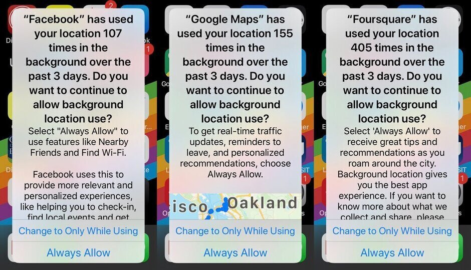 Screenshots showing the new iOS 13 feature that allows users to opt-out of the collection of location sharing data in the background - New feature has dropped the collection of iOS users' location data by 68%