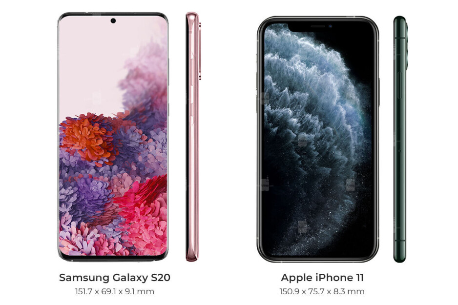 Galaxy S20 vs iPhone 11 series specs, sizes and prices