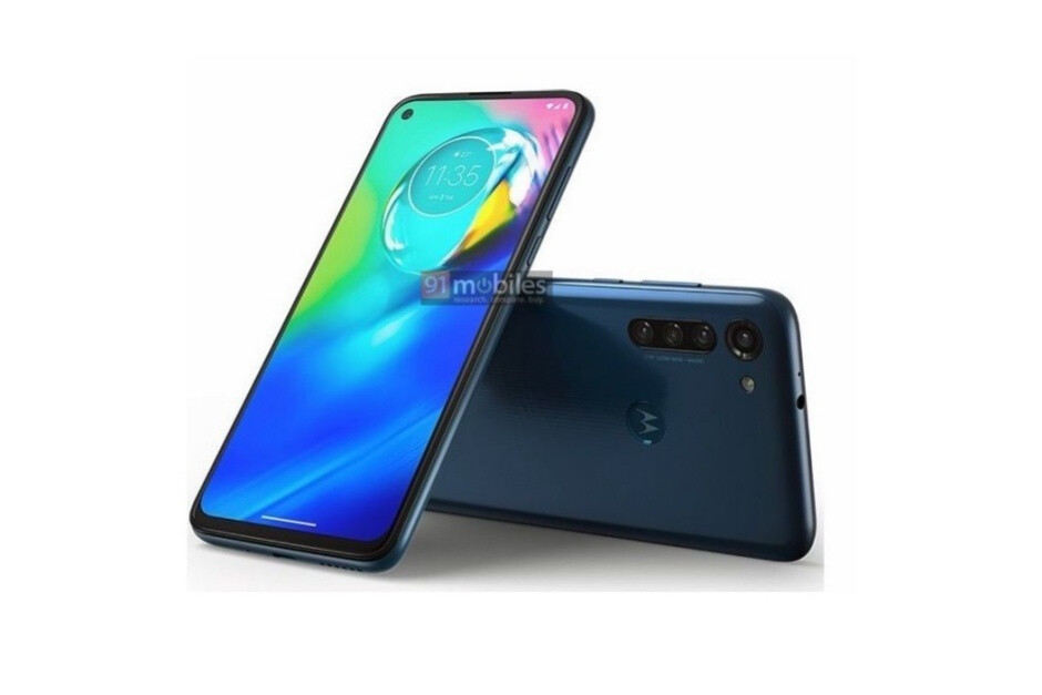 Leaked Moto G8 Power render in a dark blue hue - Big-battery Moto G8 Power and mystery Motorola phone with stylus get some newly leaked renders