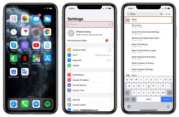 Or you can go into Settings, scroll down to reveal the Search bar and type in Reset to quickly go to that menu - How to factory reset an iPhone