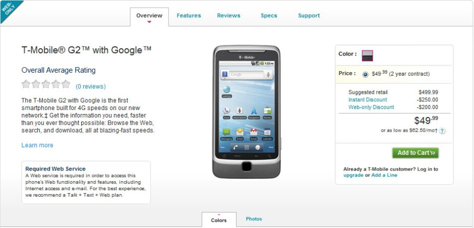 T-Mobile G2 can now be purchased for $49.99 with a contract online